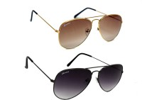 Chevera CHCOMBO-0310 Aviator Sunglasses(Black, Brown)