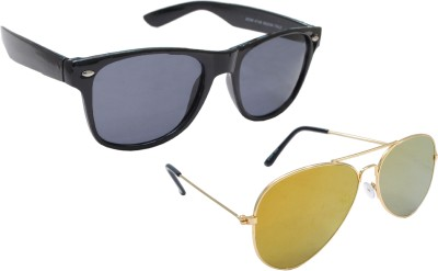 Sellebrity Elegant Combo Golden Aviator With Wayfare Black Sunglasses Aviator Sunglasses