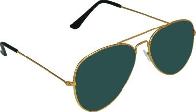 Garmor (8903522114649 /Green Color Gold Frame) Aviator Sunglasses