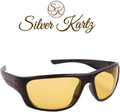 Silver Kartz Clear Yellow Lens Wayfarer Sunglasses