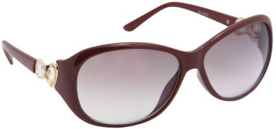 Gansta Gansta ZE-1033 Red Oval sunglass with decorative temple Oval Sunglasses(Brown)