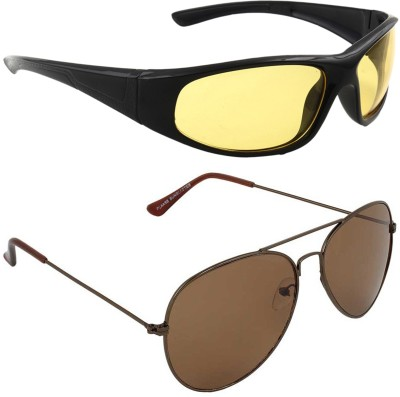 Allen Cate Combo of Night Vision & Dark Brown Aviator Sunglasses