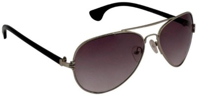 Gansta Gansta ZE-1004 Silver aviator sunglass Aviator Sunglasses(Brown)