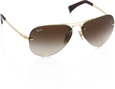 Ray-Ban 0RB3449 001/13 Aviator Sunglasses(Brown)