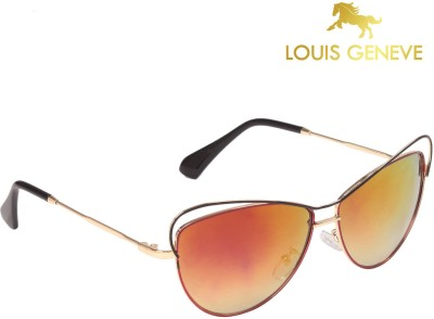 Louis Geneve Luxury Series Golden Frame with Multicolor Lens Cat-eye Sunglasses