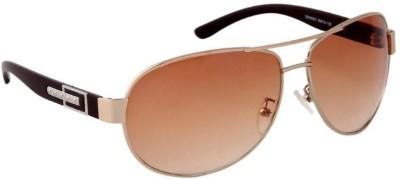 Gansta Gansta GND2007 Gold aviator sunglass Aviator Sunglasses(Brown)