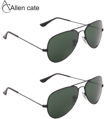 Allen Cate Combo of 2 Dark Green Aviator Sunglasses