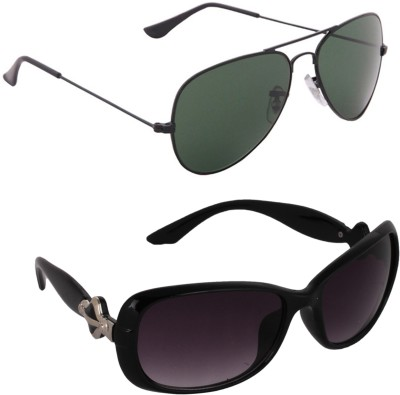 Allen Cate Combo of Dark Green Aviator, Over-sized Sunglasses