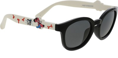 Vast KIDS_SMART_ANIMAL_CARTOON_BLACK_WHITE_POLARIZED Round Sunglasses(For Boys)