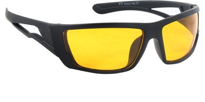 Feel Men Black Sporty Frame With Clear Yellow Lens 100% UV Protected Medium-59 Wrap-around Sunglasses