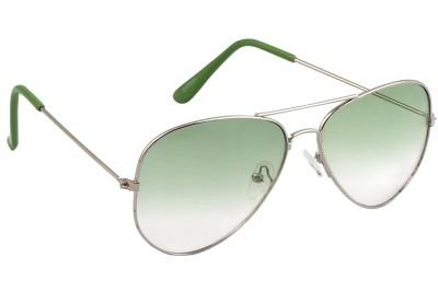 Feel Sunglasses Unisex Medium-58 Full Metal Silver Frame Green Plastic Lens 100% UV Protected Aviator Sunglasses
