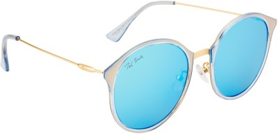 Ted Smith TS-79128/S_C92 Round Sunglasses(Brown, Blue)