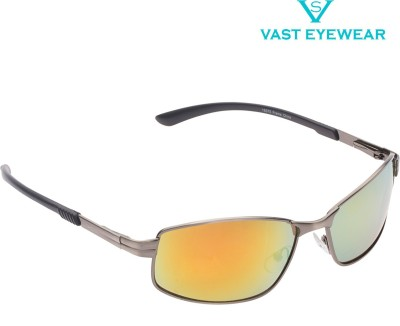 Vast 18575_Antique_Silver_Orange_Mirror Rectangular Sunglasses(Orange)