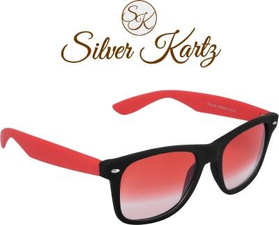 Silver Kartz Beach Sky Red Wayfarer, Rectangular Sunglasses