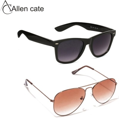 Allen Cate Dual Shade Black Wayfarer & Dual Shade Brown Aviator Sunglasses