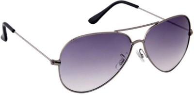 Gansta Gansta ZE-1005 Silver aviator sunglass Aviator Sunglasses(Grey)