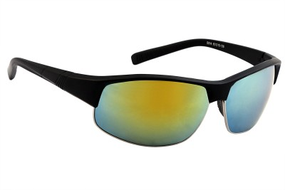Feel Men Yellow Mirrored Lens Black Plastic Frame 100% UV Protected Medium-60 Sports Sunglasses