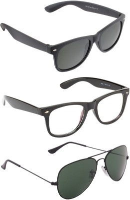 Allen Cate Combo of Aviator & ARC & Black Wayfarer Sunglasses