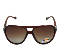 Red Knot MP116-PBRN-SLV-PBRN-BRN-62 Aviator Sunglasses(Brown)
