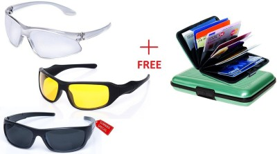 IBS Hd Vision Wrap Arounds set of 3 with alluma wallet Night View Nv Brightness Improver Uvb Protected Polarized Driving Aviator Yellow Coated Unisex Anti Glare Day Light Weight Eye Care Goggles Frames Strain Reducer Round Wrap-around Sunglasses