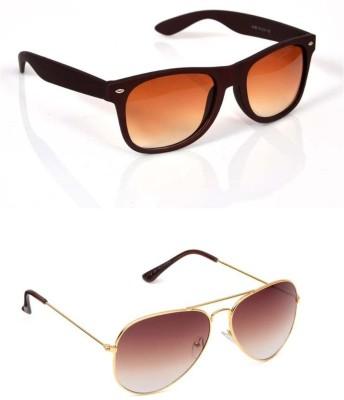 Candid COMBO PACK Wayfarer, Aviator Sunglasses(Brown)