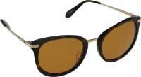 Mango Pickles F-6013-Brown-Demi-Gold Oval Sunglasses(Yellow)