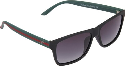 PANACHE Matte Black-Geen-Red frame-Grey Gradient Polarised Lens Wayfarer Sunglasses
