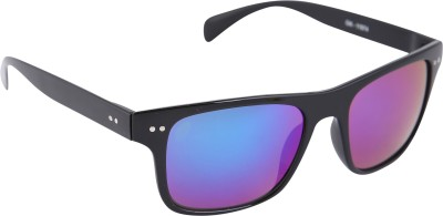 Gansta Gansta GN-11074 Rectangular wraparound sunglass with Purple Mirror lens Wayfarer Sunglasses(Multicolor)