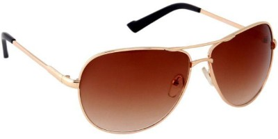 Gansta Gansta ZE-1012 Gold aviator sunglass Aviator Sunglasses(Brown)