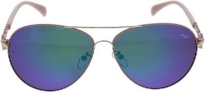 Vast WOMENS AVIATOR BLUE MIRROR WITH PINK Aviator Sunglasses(Blue)