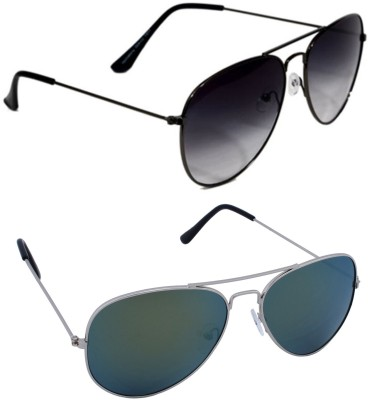 Epic Ink com2165 Aviator Sunglasses(Black, Green)