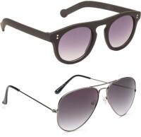 Gansta GN11081BlkGd-GN3002GunGD Round Sunglasses(Grey)