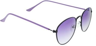 Vast twice_Round_METAL_BLACK_PURPLE Round Sunglasses(Violet)