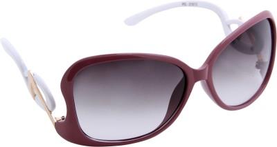Gansta Gansta PD-21013 Maroon & White Ladies sunglass Over-sized Sunglasses(Brown)