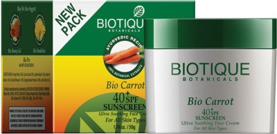 Biotique Bio Carrot (40t SPF Sunscreen For All Skin Types in The sun )50gm - SPF 40 PA+