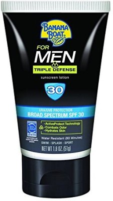 Banana Boat Boat Sunscreen for Men Triple Defense Broad Spectrum Sun Care Sunscreen Lotion - SPF 30, 2 Ounce - SPF 30 PA+(56 g)
