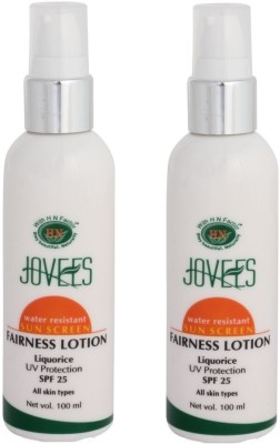 Jovees Water Resistant Sun Screen Fairness Lotion (Pack of 2) - SPF 25