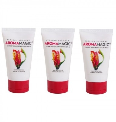 Aroma Magic Carrot Sunscreen Lotion (Pack of 3) - SPF 15