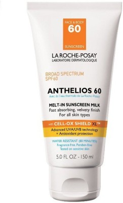 La Roche-Posay Anthelios 60 Body Milk Melt-In Sunscreen Lotion for Face and Body, Water Resistant with SPF 60, 5 Fl. oz. - SPF 60 PA+
