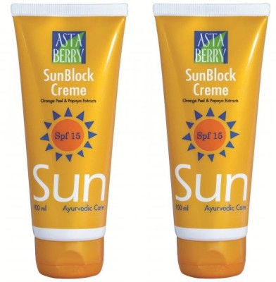 Astaberry SunBlock Crème - SPF 15 (100 ml) Pack of 2 - SPF 15 PA+