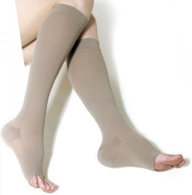 ONTEX Silver Anti Microbial Compression Stockings Knee Support (L, Beige)