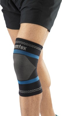 Omtex Superior Elastic Knee Support (XL, Black, Blue)