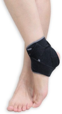 BodyVine Power Wrap Silicone Ankle Stabilizer Ankle Support (Free Size, Black)