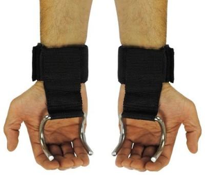 Kobo WTA-02 Pro Weight Lifting Hooks Palm Support (Free Size, Black)