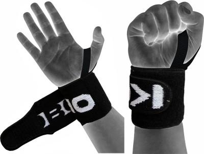 Kobo Power Weight Lifting Training Gym Straps With Thumb Wrist Support (Free Size, Black)