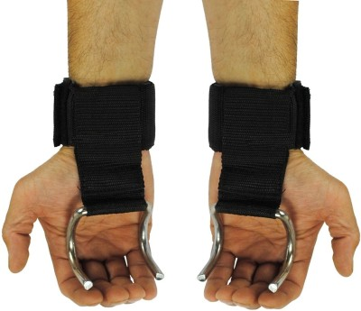 Kobo Power Weight Lifting Training Gym Straps Hook Bar Chrome Plated With Padded Wrist Gloves (IMPORTED) Palm Support (Free Size, Black)