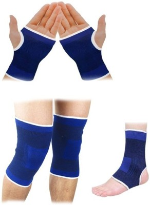 99DailyDeals R100 Combo Of 3 Palm Ankle Knee Support for Gym Jogging Exercise Muscle Pain Health Palm Support (Free Size, Blue)