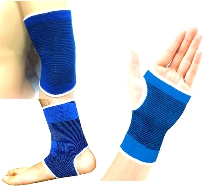 99DailyDeals R100 Combo Of 3 Palm Ankle Elbow Support for Gym Jogging Exercise Muscle Pain Health Palm, Elbow & Ankle Support (Free Size, Blue)
