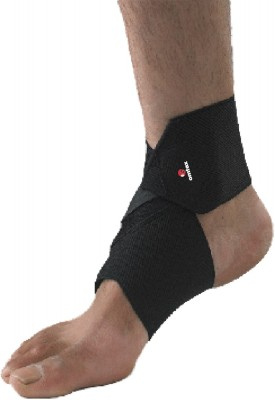Omtex Elastic Ankle Support (Free Size, Black)