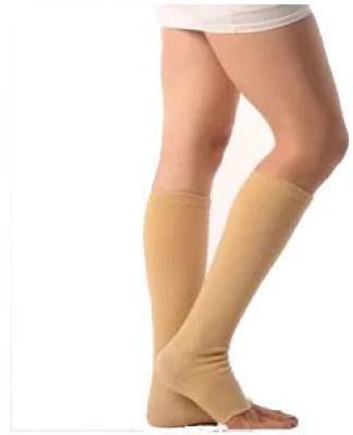 Vissco Medical Compression Stockings-Below Knee Support (L, Beige)